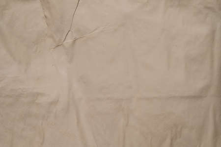 Beige colored wet paper. Crumpled texture. Plaster effect. Abstract art background. Copy space.