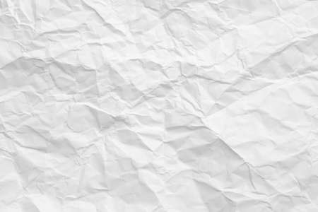 Blank white wrinkled paper. Crushed texture. Waste recycling concept. Abstract art background. Copy space.