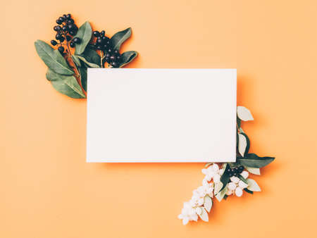 Floral greeting card. White mockup paper with berries and green leaves decoration. Peach background. Copy space.