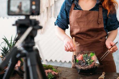 Curso de video de florarium de bricolaje. Mujer mostrando en la cámara del teléfono inteligente cómo crear arreglos florales modernos con suculentas. Foto de archivo