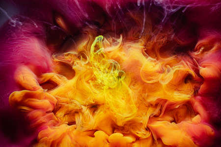 Fume art background. Fantasy cloud. Yellow magenta abstract smoke.