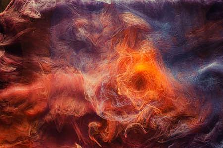 Mist flow background. Mysterious aura. Purple orange glitter smoke.