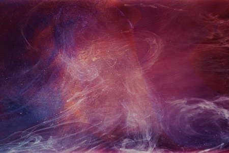 Flowing fume background. Fantasy swirl. Purple blue glitter smoke.