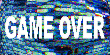 Game over message. End signal. Pixel static noise. Glitch pattern. 写真素材