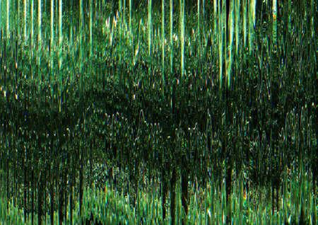 Digital glitch. Transmission error. Green pixel vibration pattern overlay.