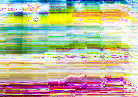 Distorted display. Glitch error. Multicolor pixel noise pattern overlay. Imagens