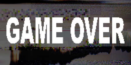 Game over signal. Distorted display. Pixel noise pattern layer. Stock Photo