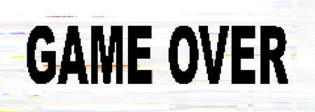Black game over message. White pixel pattern distorted screen. Stock Photo