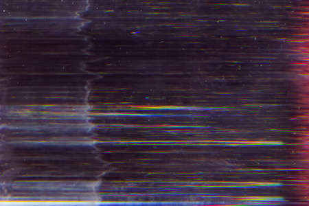 Distorted screen. Electronic glitch. Dark striped pattern noise.