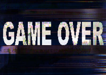 Game over message. Distorted screen. Dark static noise pattern overlay. Stock Photo