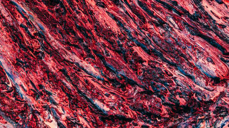 Abstract art background. Maroon red and blue wet acrylic paint mix. Molten magma texture design. 스톡 콘텐츠