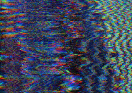 System glitch. Video damage. Blue pixel static noise.