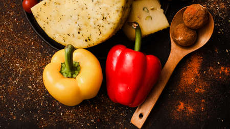 Culinary school. Natural gourmet food ingredients. Homemade cheese sweet pepper truffle nuts.