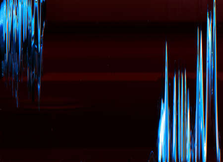 Glitch background. Digital or analog error. Blue artifacts on maroon red empty space. 免版税图像