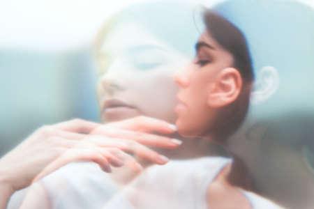Art portrait. Inner peace. Surreal sensual woman face blur silhouette double exposure. Feminine fragility. Soul freedom. Sensitive mindfulness. Nostalgic dream. Subconscious melancholy. Banco de Imagens