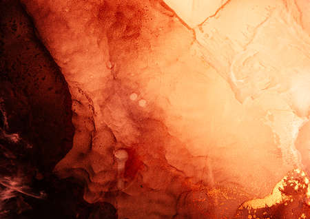 Orange marble texture. Alcohol ink water. Red hot abstract fire design with streak pattern. Glowing liquid with golden fleck sparkles. Natural mineral stone surface art background. Jupiter planet. Stock fotó