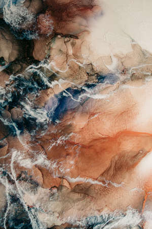 Marble texture. Alcohol ink water. Beige blue streak abstract pattern. Mineral stone design. Creative luxury stained surface nature art background. Stockfoto