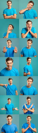 Portrait collage. Body language. Man in blue t-shirt showing different gestures isolated on teal background. Row montage of dislike stop doubt confidence clueless surprise anger approval signs.