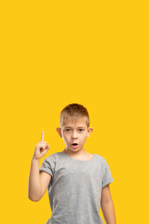 Creative idea. Promotional background. Aha moment. Solution discovery. Portrait of inspired surprised young boy in gray gained insight pointing up isolated on orange copy space.