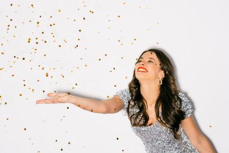 christmas celebration excited woman festive decor Banque d'images