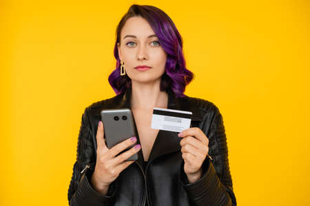 online payment confident woman banking operation