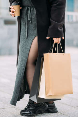 shopping day curvy woman coffee time black friday