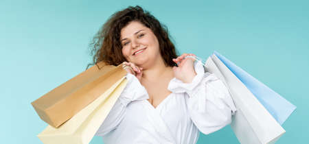 shopping banner happy curvy woman black friday