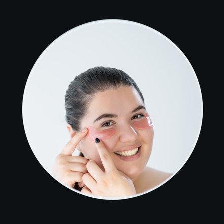 morning beauty plus size woman facial treatment Banque d'images