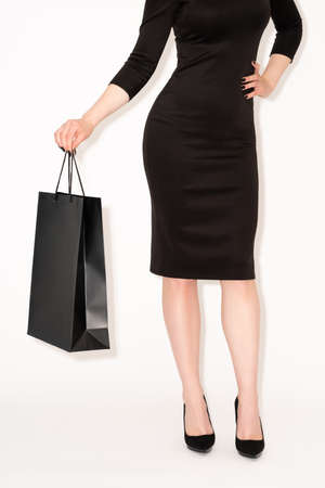 holiday discount stylish woman hot sale black Banque d'images