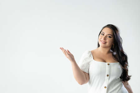 advertising woman welcome gesture important