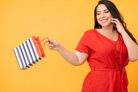 online payment happy woman enjoying shopping
