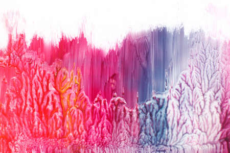 Abstract modern art painting, abstractionism on white background. Red and blue gradient colors, spring wood, growth.