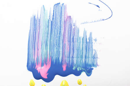 Abstractionism, colorful painting, creative modern art, bright colors. Smeared blue and pink paint with yellow dots on white background.
