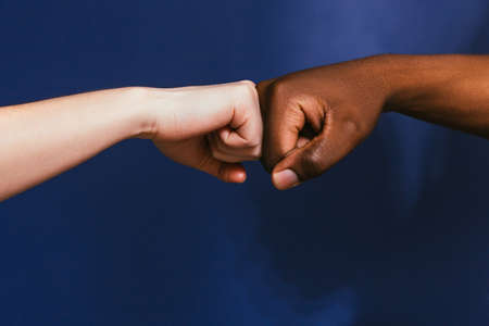Hand Black White Interracial Fist Bump Gesture Contrast Relationship Friendship International Unity Concept