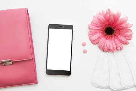 critical care: Menstruation Cycle Calendar Health Woman Reproductive Birth Control Period Contraception Female Bag Stuff Concept Stock Photo