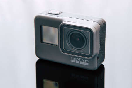 Kharkov, Ukraine - April 6, 2017: GoPro HERO 5 black edition digital action camera closeup. Compact gadget waterproof , support 4k video, voice controls and is often used in extreme photography Editorial