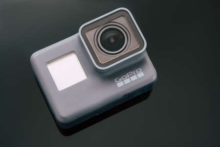 Kharkov, Ukraine - April 6, 2017: GoPro HERO 5 black edition digital action camera top view. Compact gadget waterproof , support 4k video, voice controls and is often used in extreme photography