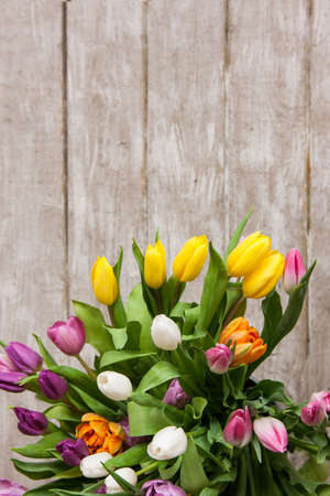 Frame of colorful flower tulips floral background big spring frame of colorful flower tulips floral background big spring bouquet on wooden backdrop with mightylinksfo