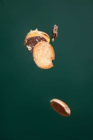Burger thrown away on green background. Junk food refuse and healthy lifestyle of people