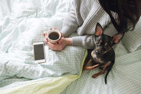 인간과 개 사이의 우정. 작은 강아지와 인식 할 수없는 소녀, 애완 동물과 여성 사이의 강한 유대감 스톡 콘텐츠