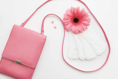 Contraceptive pills, white soft daily pads and flower with female pink bag, flat lay. Woman health, hormonal balance concept Stock Photo