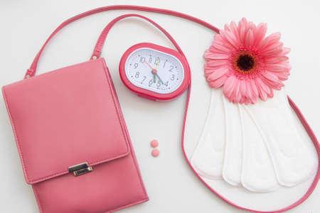 Periode Tijd Vrouw Menstruatie Controle Gezondheid Cyclus Pillen Pads Hygiëne Hormonale balans Concept Stockfoto