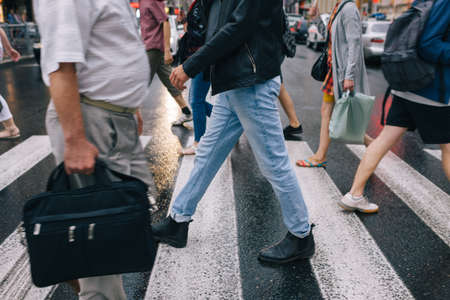 urban rush crowd crosswalk city lifestyle concept Stock fotó
