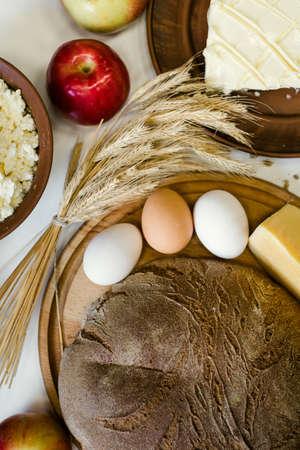 haciendo pan: Serving culinary calcium kitchen countryside handmade farming food eco background Foto de archivo