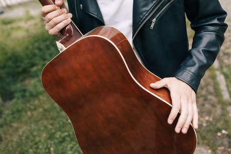 musician guitar player artist performer practice concept Stock Photo