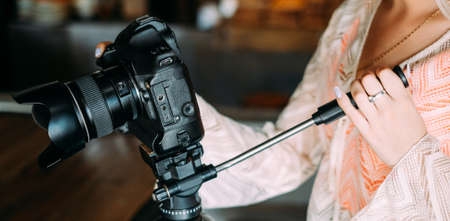 professional photography equipment. Modern technology in creating quality content for blogs or tv shows concept