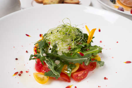 Healthy balanced eating. Vegetable salad. Vegetarian food background. Haute cuisine concept Archivio Fotografico