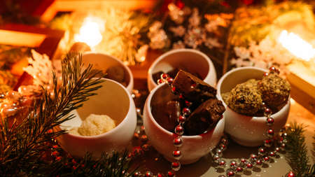 Chocolate sweet truffle. Festive dessert. Christmas magic atmosphere background