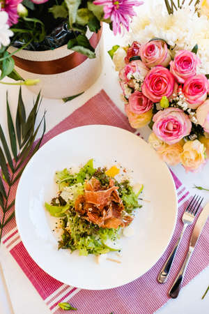 delicious celebrative salad breakfast concept. restaurant food. festive atmosphere Stock Photo
