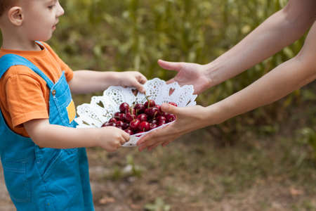 Healthy treats nature berries child concept. Advertisement of proper nutrition. Happy childhood. 스톡 콘텐츠